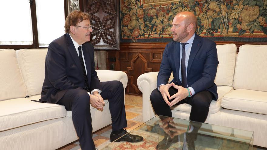Ximo Puig y Toni Gaspar, durante su encuentro en el Palau de la Generalitat