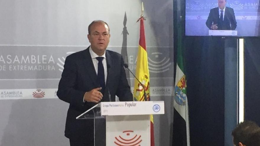 Monago, en rueda de prensa / @ppextremadura