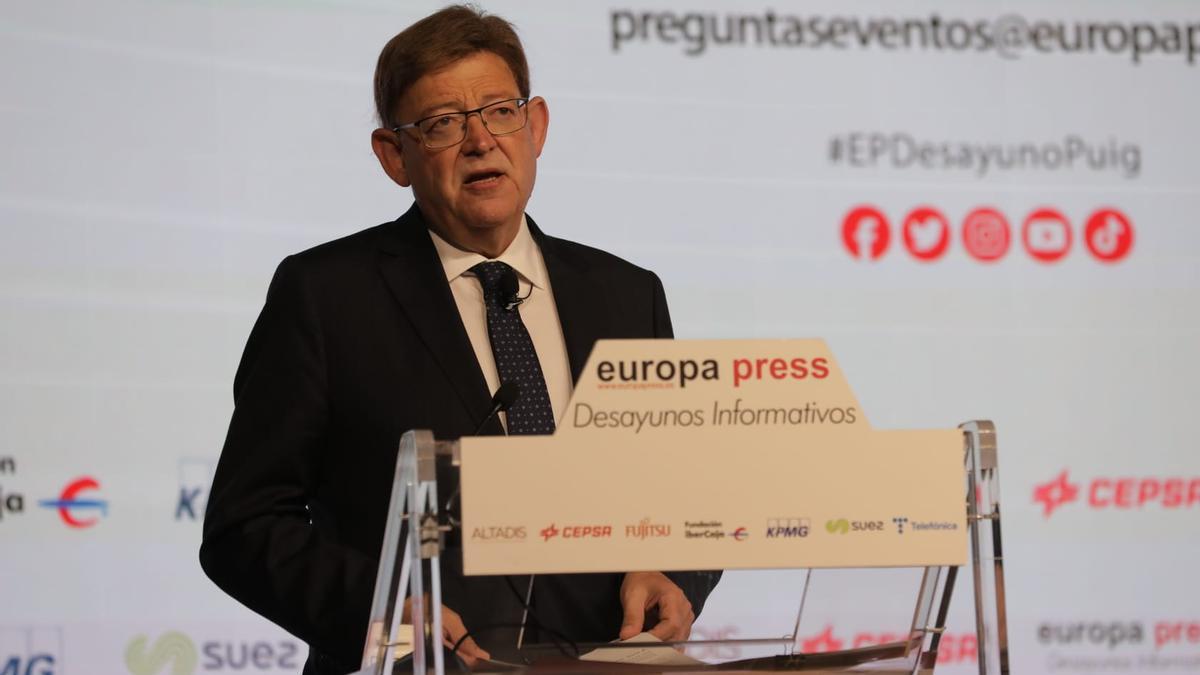 El presidente de la Generalitat Valenciana, Ximo Puig, durante su intervención en los desayunos informativos de Europa Press.