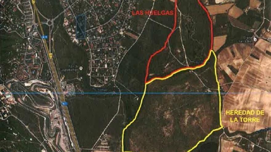 Mapa de las fincas municipales del dossier sobre el proyecto del Ayuntamiento de Algete.