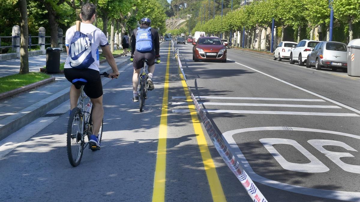 Carril bici en Santander.