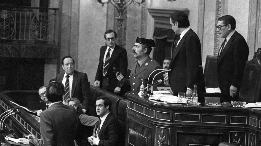 El militar Tejero en su asalto al Congreso de los Diputados