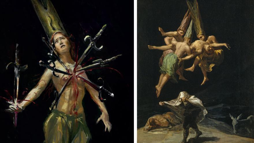 Izquierda: el personaje La señora de los seis dolores. Derecha: 'Vuelo de brujas' (1797), de Francisco de Goya