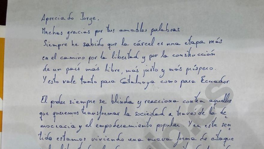 Carta de Junqueras al exvicepresidente ecuatoriano