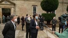 La portavoz nacional del BNG, Ana Pontón, asiste al acto en memoria de las víctimas de la COVID-19 en Santiago.