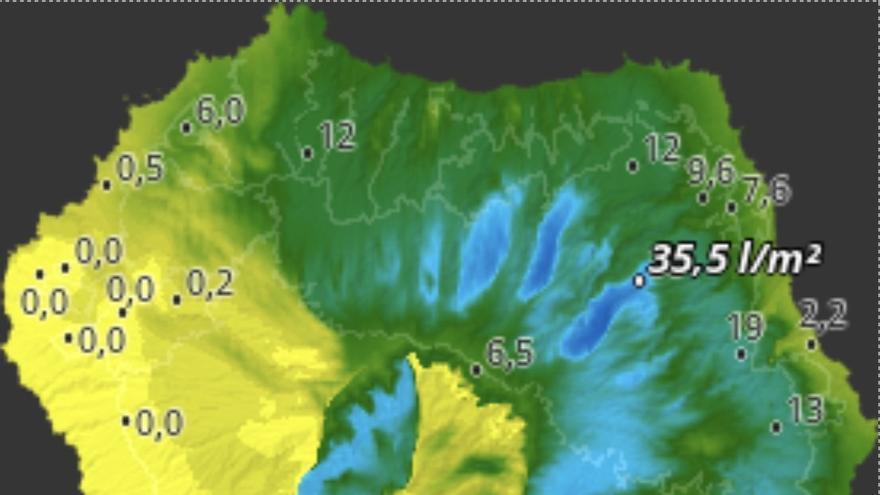 Mapa de HD Meteo La Palma de la lluvia recogida en diferentes puntos de la Isla.