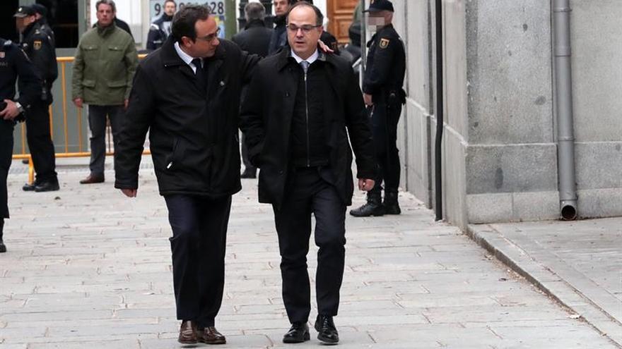 Josep Rull y Jordi Turull, acudiendo a su comparencia ante el Supremo