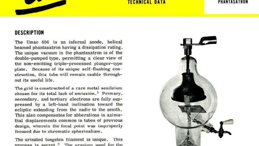 """Folleto de UMAC 606, una válvula de vacío con """"filamento de tungesteno orinado"""""""