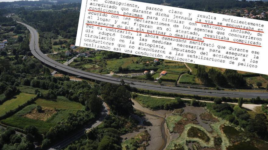 Imagen de la AP-9 en las proximidades del lugar del accidente y fragmento de la sentencia