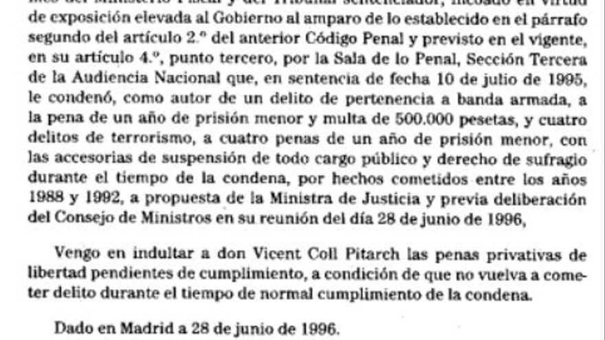 Real decreto del indulto a Vicent Coll Pitarch
