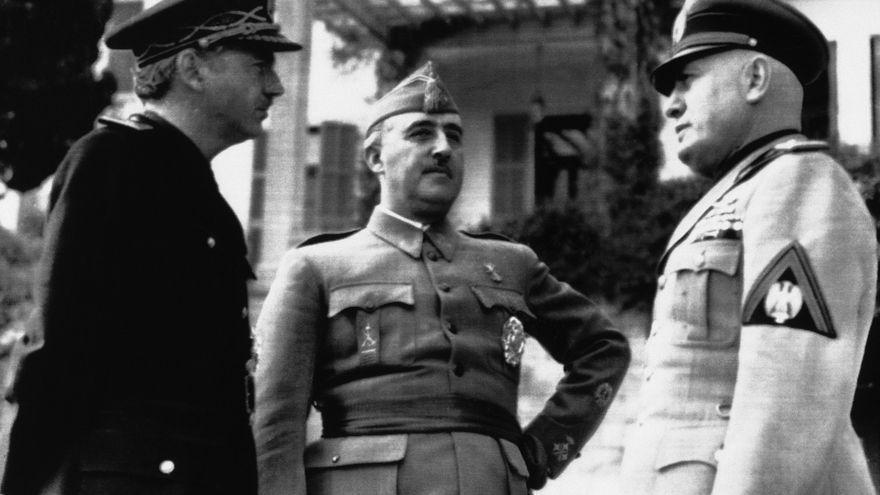 Spain's Foreign Minister Serrano Suner, left, the Spanish Head of State General Francisco Franco and Italy's Premier Benito Mussolini, right, photographed in Italy on March 5, 1941, during their recent meeting.