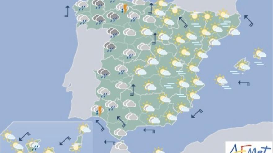Predicción meteorológica para este 17 de octubre de 2017 de la AEMET.