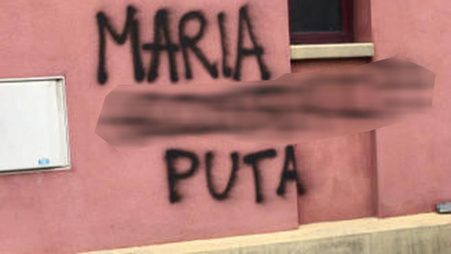Pintada cercana a la vivienda de la víctima.