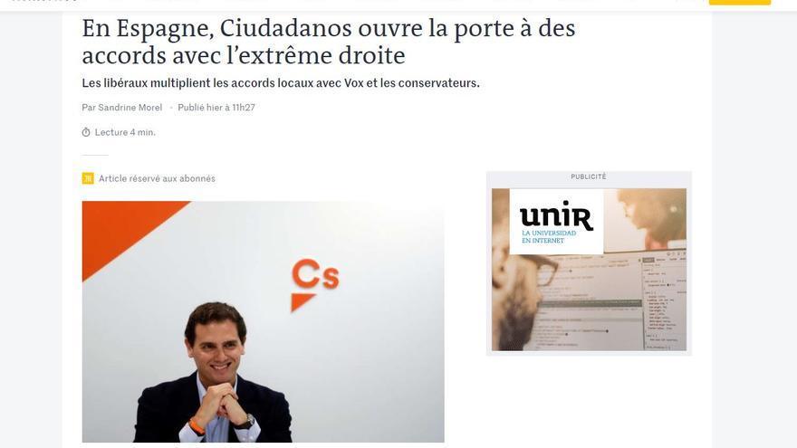 Página web de Le Monde.
