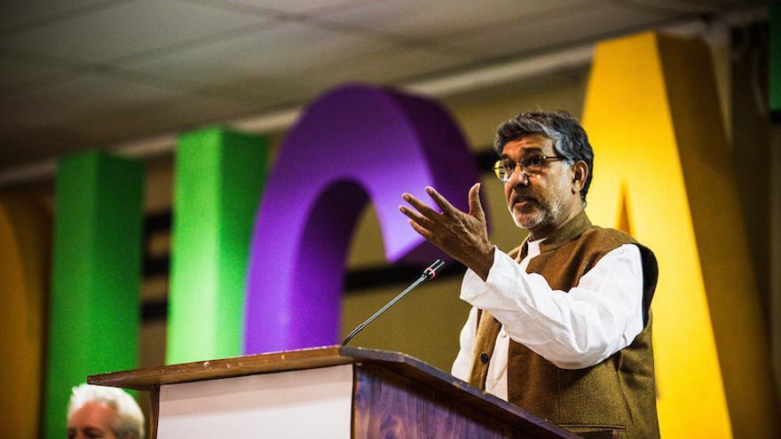 Kailash Satyarthi durante la V Asamblea Mundial en Johannesburgo (David Philip/Global Campaign for Education)