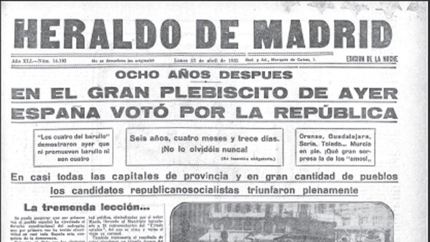 Portada de 'Heraldo de Madrid' el 13 de abril de 1931.