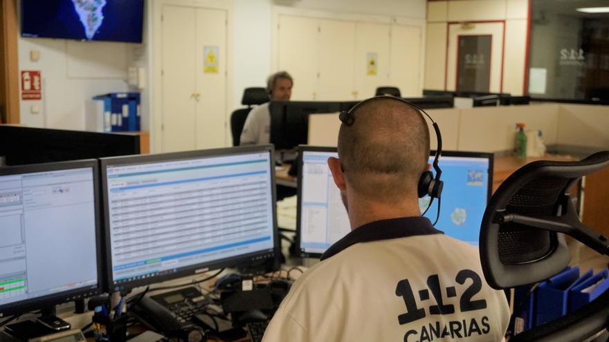 Sala operativa del entro Coordinador de Emergencias y Seguridad (Cecoes) 1-1-2  de Canarias.