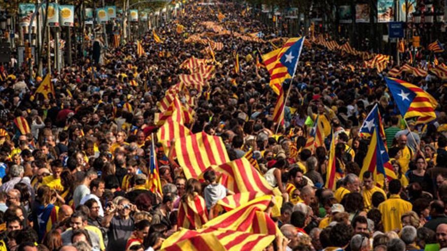 Imagen de una manifestación de la Diada.