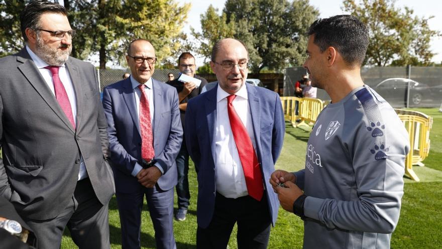 Javier Lambán, este viernes, en su visita a Huesca
