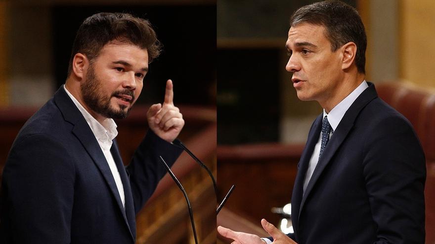 Gabriel Rufián y Pedro Sánchez.