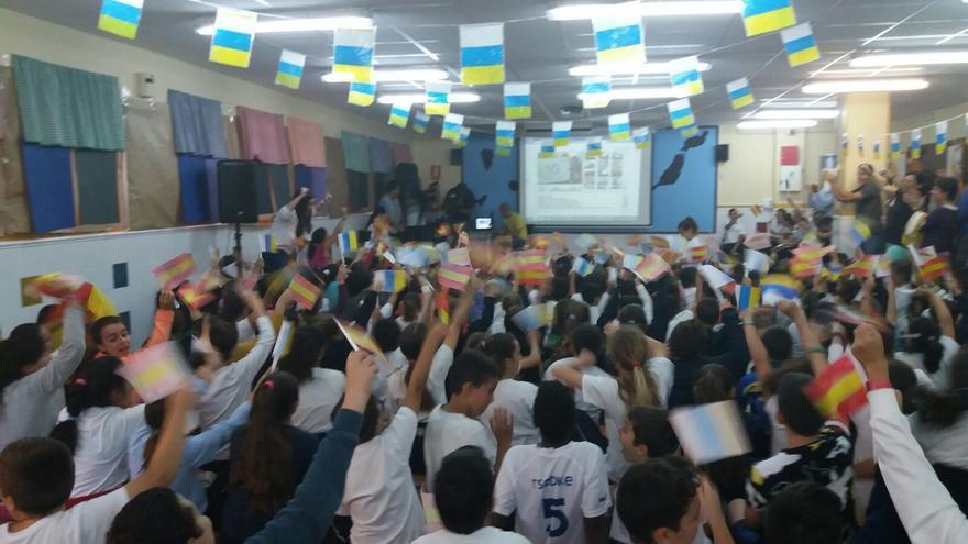 Los alumnos del CEIP Valsequillo tras conocer el resultado de 'Schoolvision'.
