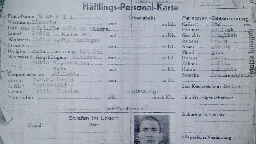 Ficha de prisionero que elaboraron los SS de Buchenwald.