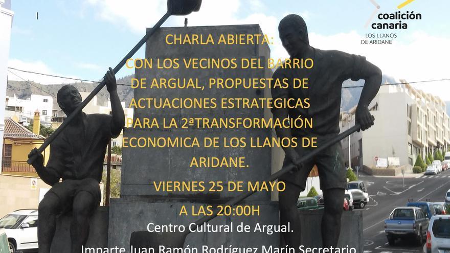 Cartel de la charla en Argual.