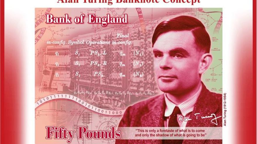 Imagen de cómo será el billete de 50 libras en el que aperecerá el rostro de Alan Turing