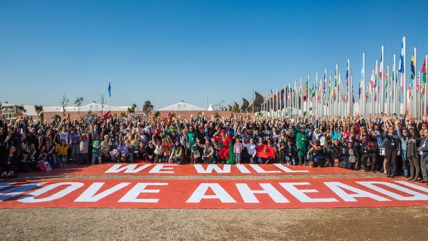 Petición colectiva de acción climática a las puertas de la COP22 en Marrakech.