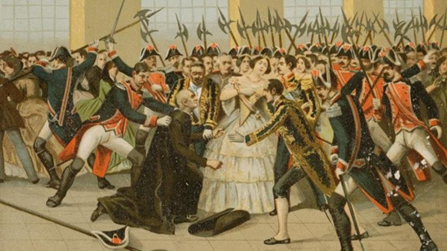Regicidio frustrado del cura Merino, en una estampa de ca. 1852.