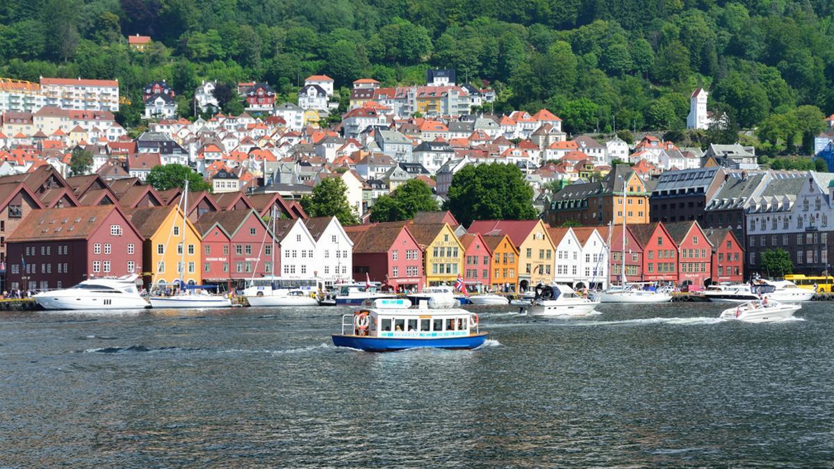 Las casas multicolores en el puerto de Bergen, Noruega.