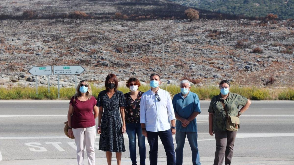 Martina Velarde (2ª izda.) con otros dirigentes de Podemos en una zona de la Sierra de Cabra calcinada por un incendio