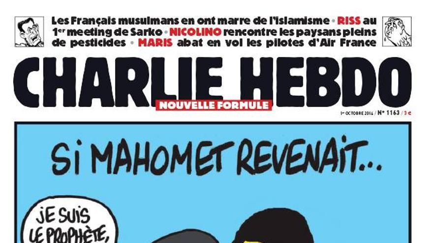 Portada de Charlie Hebdo en la que un miembro de ISIS decapita a Mahoma.