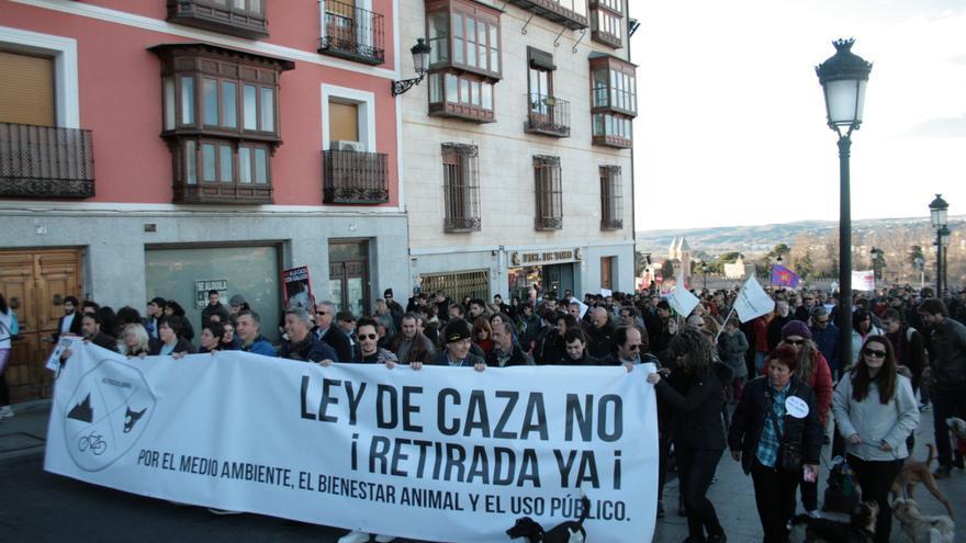 Manifestación contra Ley de Caza en Toledo