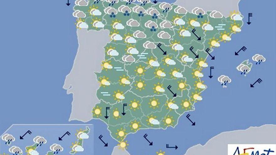 Hoy lunes bajan las temperaturas en la península, sobre todo las mínimas