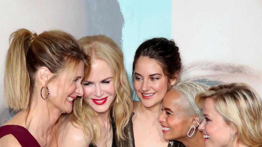 Las protagonistas de 'Big Little Lies', con Nicole Kidman en el centro, antes de la premiere de la serie