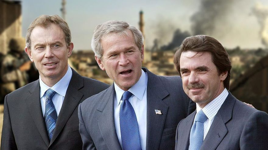 Tony Blair, George Bush y José María Aznar invadieron Irak el 20 de Marzo de 2003.