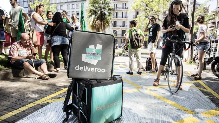 Una manifestación el pasado 23 de junio sacó a la calle el malestar de los repartidores de Deliveroo