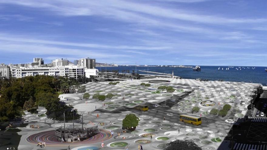 Diseño de la Estación de San Telmo cuando se construya el Tren de Gran Canaria. ferrocarrilesdegrancanaria.org