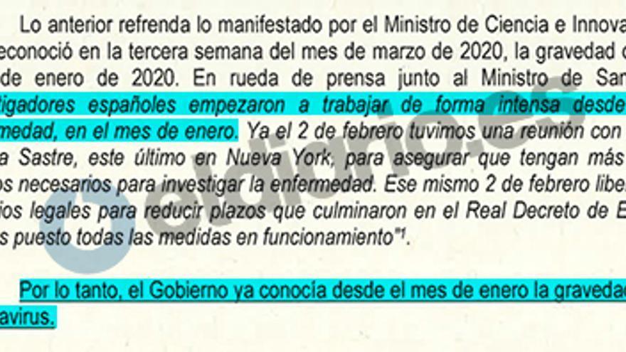 Captura del informe donde la Guardia Civil concluye que el Gobierno sabía en enero los riesgos de la pandemia