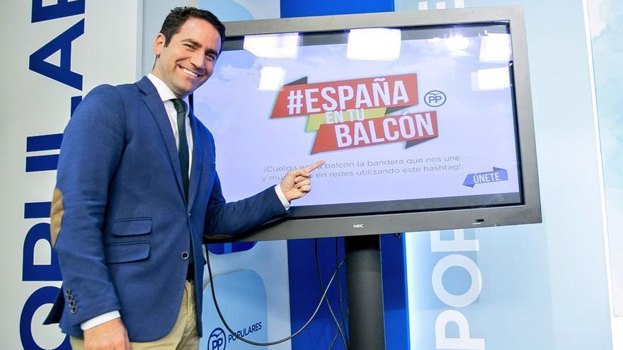 El secretario general del PP, Teodoro García Egea, presenta 'España en tu balcón'.