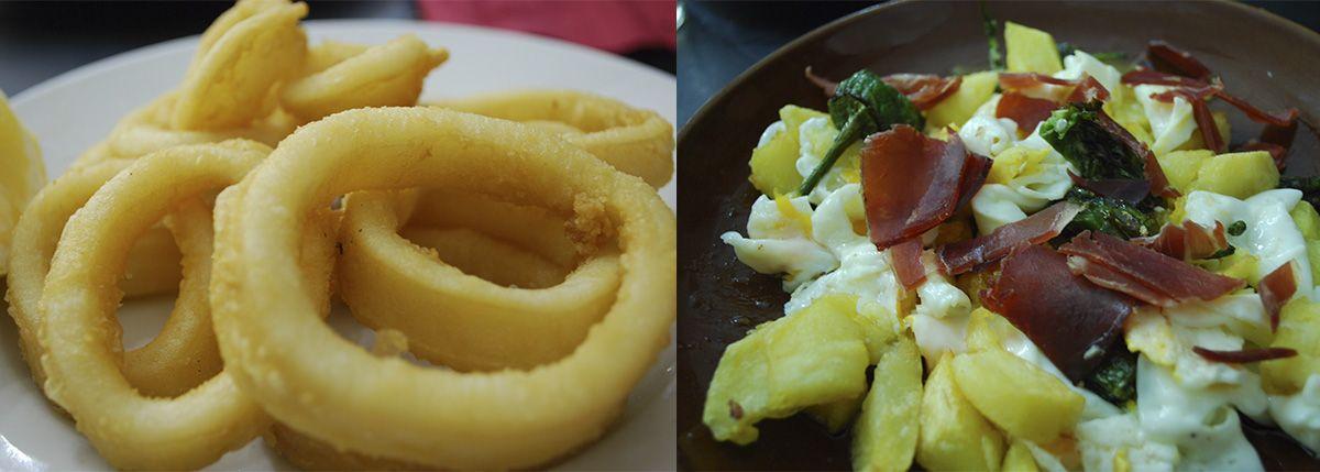 Calamares a la romana y huevos rotos_Malasaña a mordiscos_O Potiño