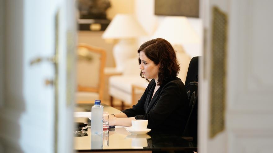 Isabel Díaz Ayuso, durante una de las cumbres telemáticas de presidentes autonómicos