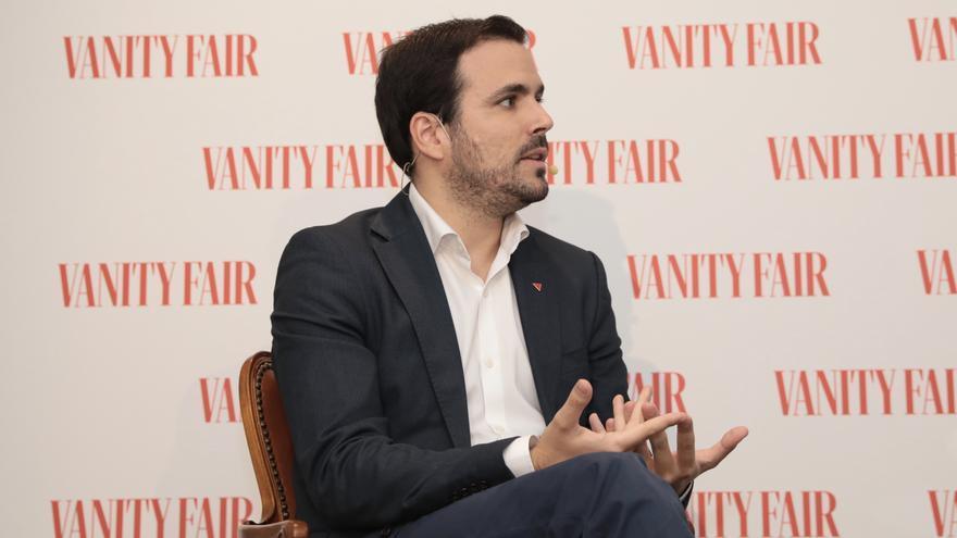 Alberto Garzón, en el desayuno informativo organizado por Vanity Fair.