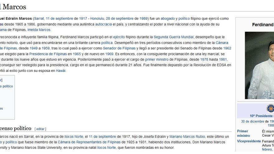 Página de Wikipedia Ferdinand Marcos