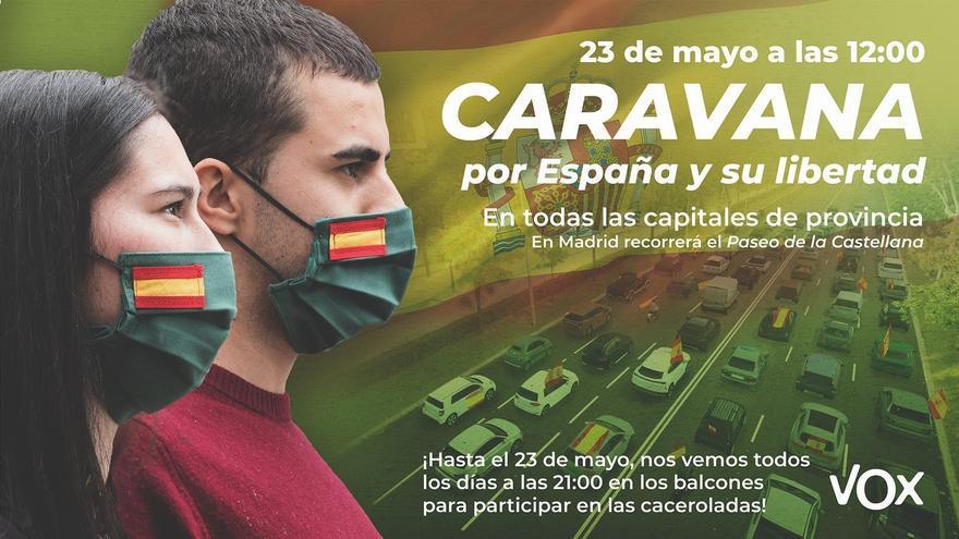 Cartel de la caravana-manifestación convocada por Vox.