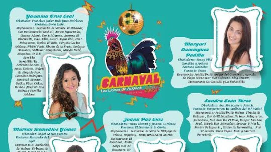 Cartel de las candidatas adultas a reina del Carnaval de Los Llanos de Aridane.