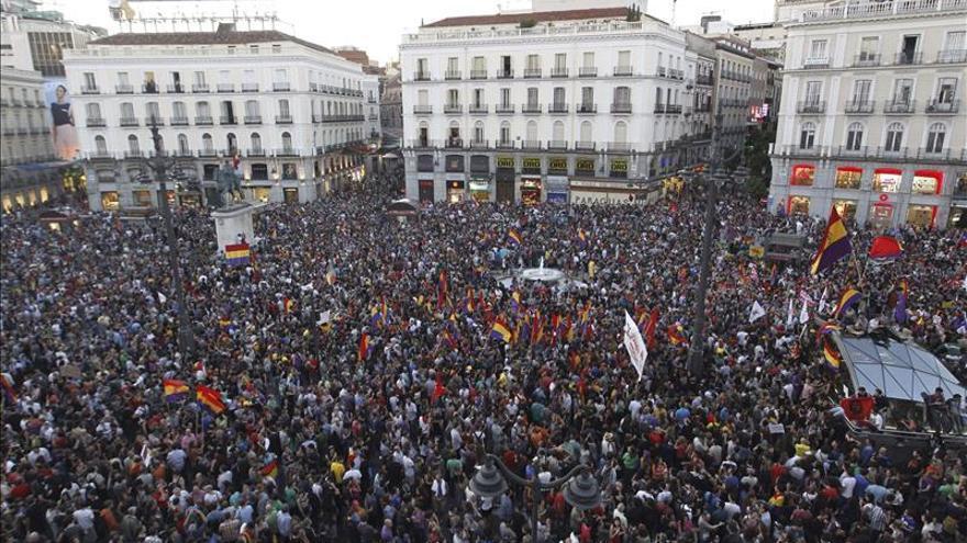 Concentración en la puerta del Sol de Madrid, el escenario por excelencia del 15-M