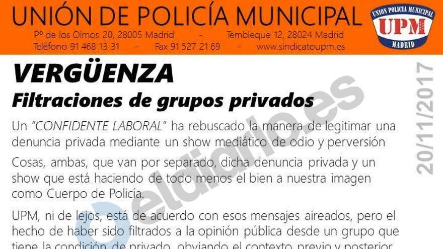 Comunicado interno de la Unión de Policía Municipal
