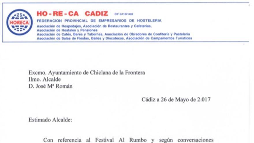 Escrito enviado por Horeca al alcalde de Chiclana, José María Román